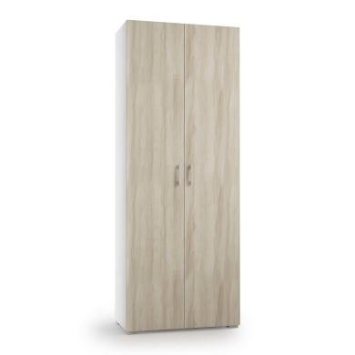 Scarpiera mobile multiuso 2 ante L 73 x H 195 x Sp 35 cm bianco