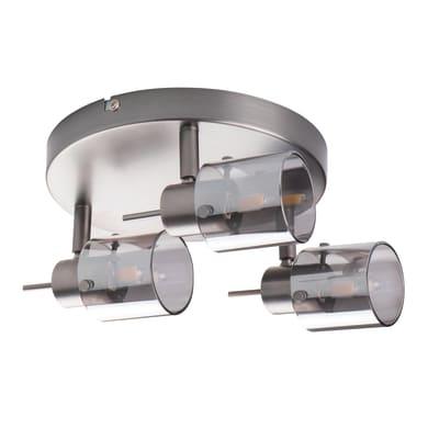 Barra di faretti Eveli argento, in acciaio, G9 3xIP20