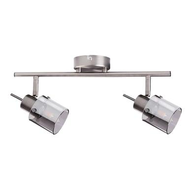 Barra di faretti Eveli argento, in acciaio, G9 2xIP20
