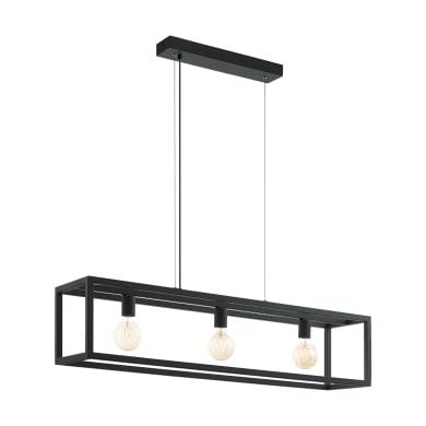 Lampadario Industriale Elswick nero in metallo, L. 110.0 cm, 3 luci, EGLO