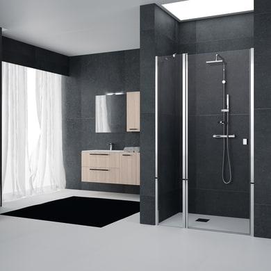 Porta doccia battente Glam 120 cm, H 201.7 cm in vetro temprato, spessore 6 mm trasparente cromato