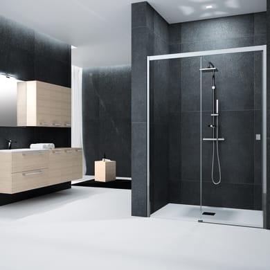 Porta doccia scorrevole Glam 177 cm, H 200 cm in vetro temprato, spessore 6 mm trasparente cromato