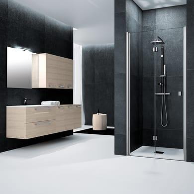 Porta doccia battente pieghevole Glam 90 cm, H 201.7 cm in vetro temprato, spessore 6 mm trasparente satinato