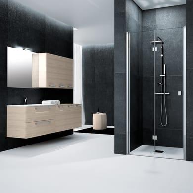Porta doccia battente pieghevole Glam 100 cm, H 201.7 cm in vetro temprato, spessore 6 mm trasparente cromato