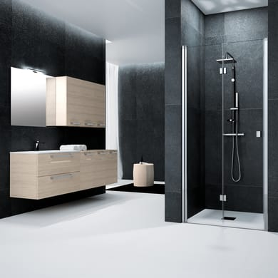 Porta doccia battente pieghevole Glam 70 cm, H 201.7 cm in vetro temprato, spessore 6 mm trasparente cromato