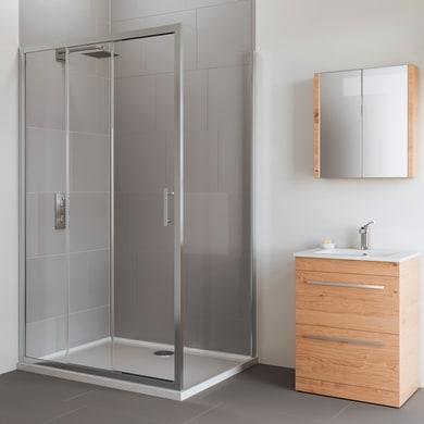 Box doccia angolare porta scorrevole e lato fisso rettangolare Verve 120 x 70 cm, H 190 cm in vetro temprato, spessore 6 mm trasparente cromato