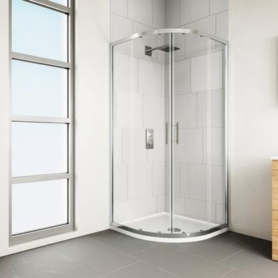 Box doccia semicircolare 2 ante fisse + 2 ante scorrevoli Verve 90 x 90 cm, H 190 cm in vetro temprato, spessore 6 mm trasparente cromato