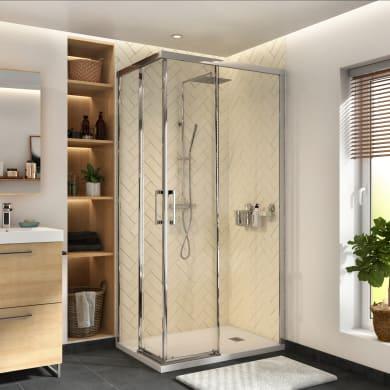Box doccia rettangolare scorrevole Remix 70 x 90 cm, H 195 cm in vetro temprato, spessore 6 mm trasparente cromato