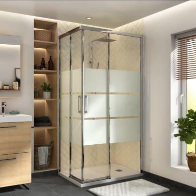 Box doccia rettangolare scorrevole Remix 70 x 90 cm, H 195 cm in vetro temprato, spessore 6 mm serigrafato cromato