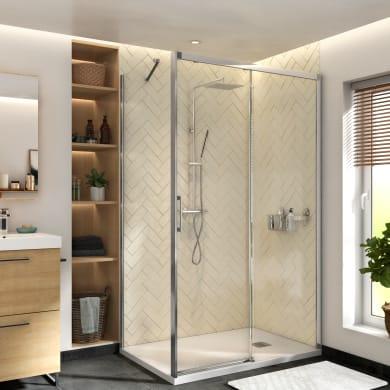 Box doccia angolare porta scorrevole e lato fisso rettangolare Remix 140 x 70 cm, H 195 cm in vetro temprato, spessore 6 mm trasparente cromato