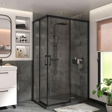 Box doccia rettangolare scorrevole Remix 80 x 120 cm, H 195 cm in vetro temprato, spessore 6 mm trasparente nero