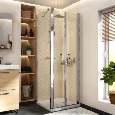 Porta doccia battente Remix 80 cm, H 195 cm in vetro, spessore 8 mm trasparente cromato