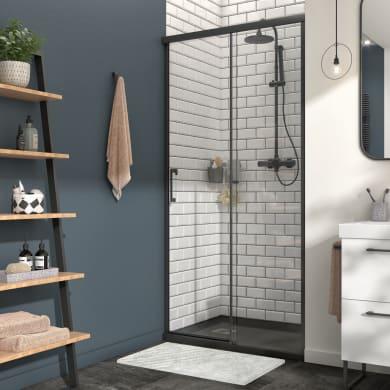 Box doccia angolare porta scorrevole e lato fisso rettangolare Remix 140 x 70 cm, H 195 cm in vetro temprato, spessore 6 mm trasparente nero