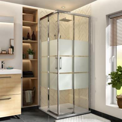Box doccia quadrato scorrevole Remix 90 x 90 cm, H 195 cm in vetro temprato, spessore 8 mm serigrafato cromato