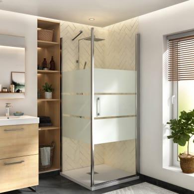 Box doccia angolare con porta a battente e lato fisso quadrato Remix 80 x 80 cm, H 195 cm in vetro temprato, spessore 6 mm serigrafato cromato