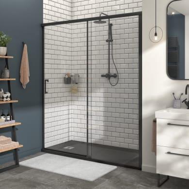 Porta doccia scorrevole Remix 160 cm, H 195 cm in vetro, spessore 8 mm trasparente nero
