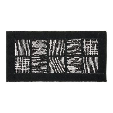 Tappeto bagno rettangolare Savana in cotone nero 110 x 55 cm