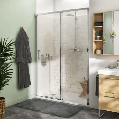 Porta doccia 1 anta fissa + 1 anta scorrevole Remix 140 cm, H 195 cm in vetro, spessore 8 mm trasparente cromato