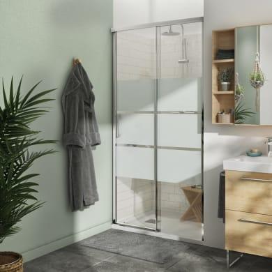 Box doccia angolare porta scorrevole e lato fisso rettangolare Remix 140 x 70 cm, H 195 cm in vetro temprato, spessore 6 mm serigrafato cromato