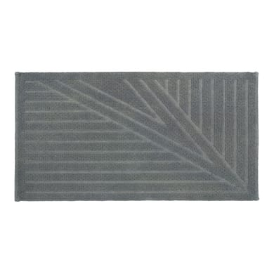Tappeto bagno rettangolare Bianca in 100% cotone grigio 100 x 55 cm