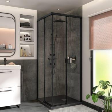 Box doccia quadrato scorrevole Remix 90 x 90 cm, H 195 cm in vetro temprato, spessore 8 mm trasparente nero