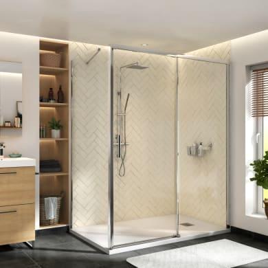 Porta doccia scorrevole Remix 140 cm, H 195 cm in vetro, spessore 8 mm trasparente cromato