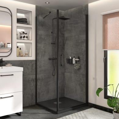 Box doccia angolare con porta a battente e lato fisso quadrato Remix 80 x 80 cm, H 195 cm in vetro temprato, spessore 6 mm trasparente nero
