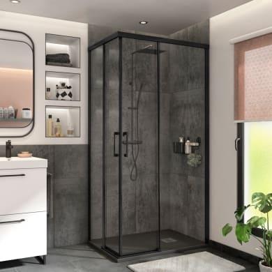 Box doccia rettangolare scorrevole Remix 70 x 90 cm, H 195 cm in vetro temprato, spessore 6 mm trasparente nero