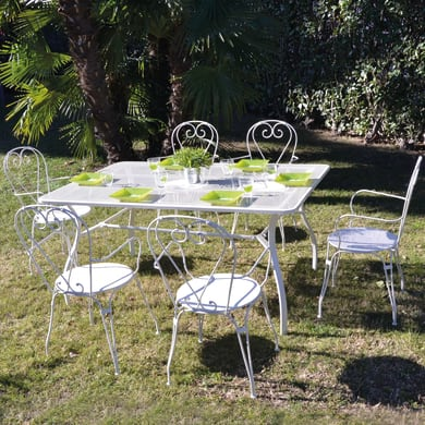 Set tavolo e sedie Desenzano in metallo bianco 6 posti