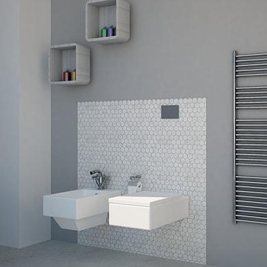 Mosaico Esagona marmo H 30 x L 33 cm bianco/grigio