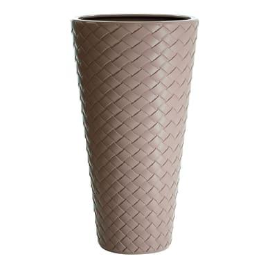 Vaso Matuba Alto PROSPERPLAST in plastica colore sabbia H 55 cm, Ø 30 cm