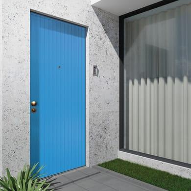 Porta blindata Grecia azzurro L 90 x H 210 cm destra