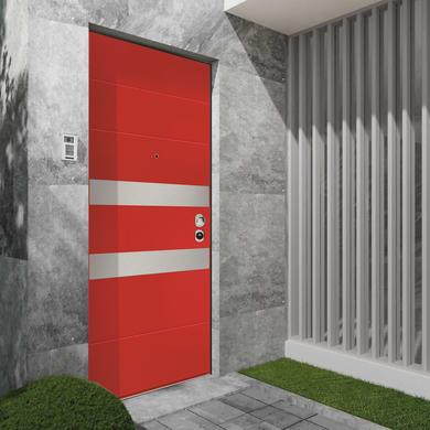 Porta blindata Maxima rosso L 90 x H 210 cm sinistra