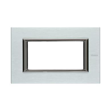 Placca BTICINO Axolute 4 moduli alluminio spazzolato
