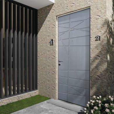 Porta blindata Invisible grigio L 90 x H 210 cm destra