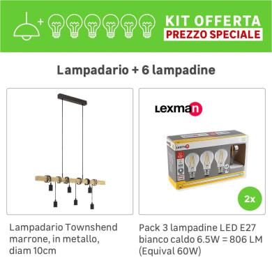 Lampadario Industriale KIT+2 PACK 3 LAMPADINE Townshend marrone, in metallo, L. 100 cm, 6 luci, EGLO