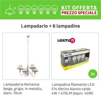 Lampadario Romantic Charm KIT+2 PACK 3 LAMPADINE Romance beige/grigio, in metallo, D. 70 cm, 4 luci