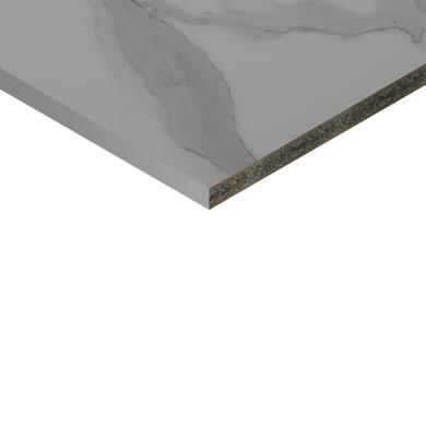 Piano cucina su misura in truciolare Marmo bianco , spessore 4 cm