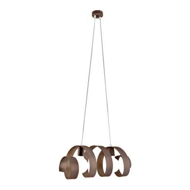 Lampadario Moderno Twister tortora in ferro, L. 54 cm, 2 luci, NOVECENTO