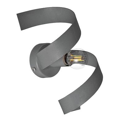 Applique moderno Twister grigio, in ferro, 18x16 cm,
