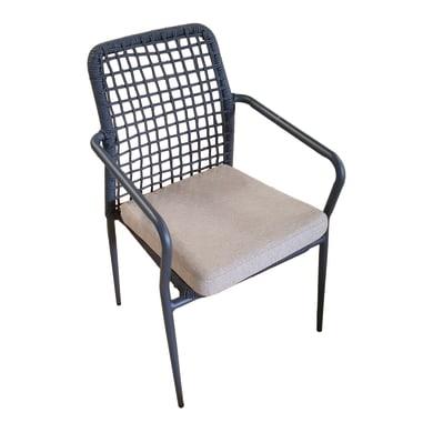 Sedia da giardino con cuscino  in alluminio Fucecchio colore struttura grigio antracite, corda grigio scura, cuscino sabbia