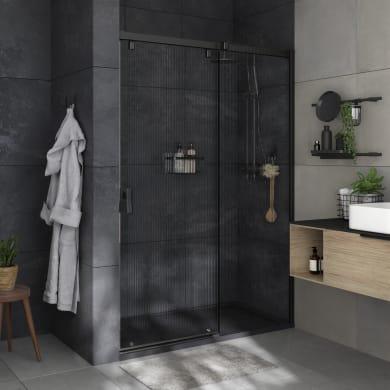 Box doccia angolare porta scorrevole e lato fisso rettangolare Neo 140 x 80 cm, H 200 cm in vetro temprato, spessore 8 mm strutturato nero