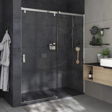 Porta doccia 1 anta fissa + 1 anta scorrevole Neo 180 cm, H 200 cm in vetro, spessore 8 mm trasparente cromato