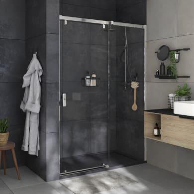 Box doccia angolare porta scorrevole e lato fisso rettangolare Neo 120 x 70 cm, H 200 cm in vetro temprato, spessore 8 mm trasparente cromato