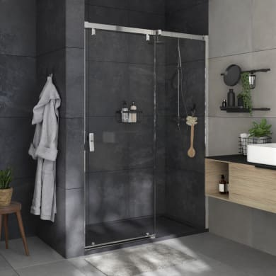 Box doccia angolare porta scorrevole e lato fisso rettangolare Neo 140 x 70 cm, H 200 cm in vetro temprato, spessore 8 mm trasparente cromato
