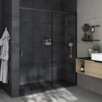 Porta doccia 1 anta fissa + 1 anta scorrevole Neo 160 cm, H 200 cm in vetro, spessore 8 mm strutturato nero