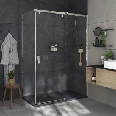 Box doccia angolare porta scorrevole e lato fisso rettangolare Neo 120 x 80 cm, H 200 cm in vetro temprato, spessore 8 mm trasparente cromato