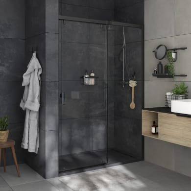Box doccia angolare porta scorrevole e lato fisso rettangolare Neo 140 x 70 cm, H 200 cm in vetro temprato, spessore 8 mm trasparente nero