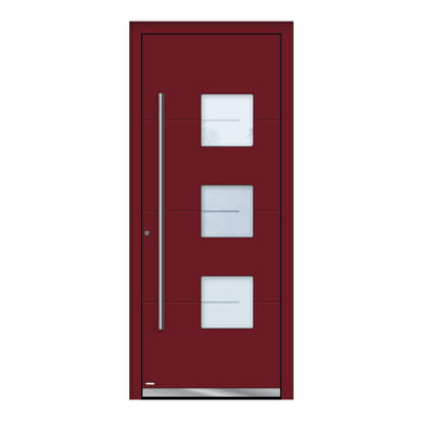 Portoncino d'ingresso QP40 rosso L 80 x H 210 cm sinistra