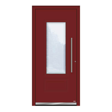 Portoncino d'ingresso QT80 rosso L 90 x H 210 cm sinistra